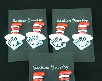 Cat In The Hat Inspired Earrings,  Dr. Seuss Earrings,  Dr. Seuss Birthday Jewelry