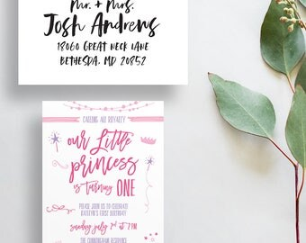 princess birthday party invites // girl birthday party invitations // little girls birthday // our little princess // printed invites