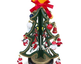 """6.5"""" Set of 2 Wooden Tabletop Christmas Tree with Santa, Snowman, Miniature Wooden Ornaments"""