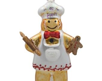 "5.5"" Gingerbread Man Baker Glass Christmas Ornament"