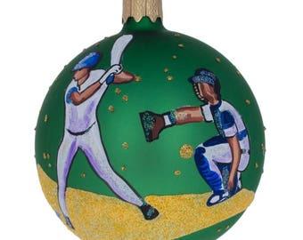 """3.25"""" Baseball Glass Ball Christmas Ornament"""