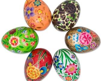 "3"" Set of 6 Garden Flowers Bouquet Ukrainian Wooden Easter Eggs"