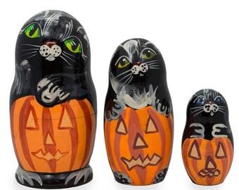 "4.25"" Set of 3 Black Cats and Pumpkins Halloween Wooden Nesting Dolls"