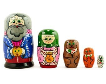 "7"" Set of 5 Kolobok, Babushka and Dedushka Fairy Tale Russian Nesting Dolls"