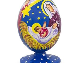 "3.5"" Bethlehem Star and Angel  Overlooking Jesus Wooden Figurine"
