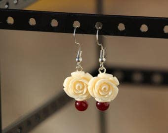 Bone Carve, Rose, Dangle Earring