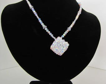 Swarovski crystal necklace with crystal ab2x cube.