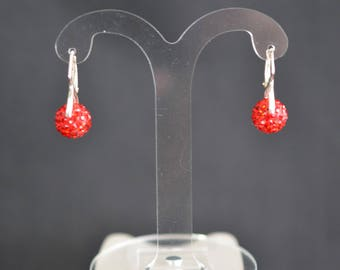925 silver earrings and plastic rounds crystal Swarovski light siam