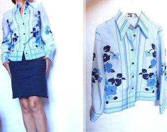 vintage blouse 70 s Fink Modell placed pattern size S 36 GB sky blue