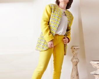 Ungaro vintage french sewing Emmanuel Ungaro M 38 40 Fr yellow embossed tweed jacket