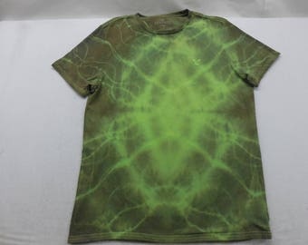 Mens Green Tie Dyed Short Sleeve Shirt T-Shirt Size Large
