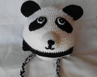 Hat panda size 3/6 month handmade