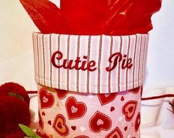 Custom gift, fabric bucket, organization