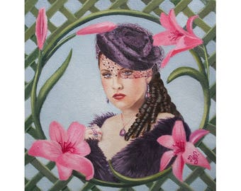 Romantic young woman with a veil, original oil figurative art painting portrait
