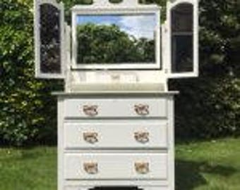 A Beautiful Dressing Chest Hand-Painted in Antique White