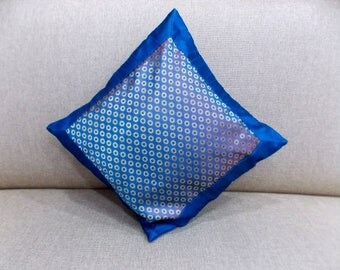 Indian Pure Silk Cushion Cover Home Ethnic Decorative Blue Color Size 17x17""