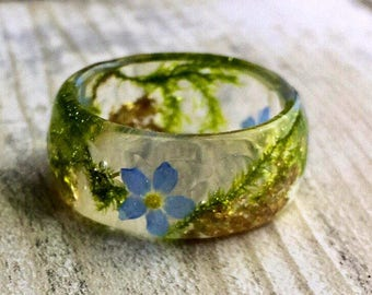 Resin rings, Forget me nots, resin ring, real flower ring, botanical, forget me not ring, forget me not, girlfriend gift, gift for her, ring