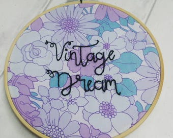 Vintage embroidery hoop, upcycled fabric, flower power, mid century vintage, vintage style, home decor, floral wall art, stocking filler,