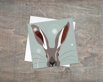 Hare greetings card - Sage