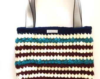 Crochet Shoulder Bag, Large Market Bag, Crochet Tote With Stripes