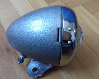 Vintage Bike Headlight- Gray and silver in very good cosmetic condition