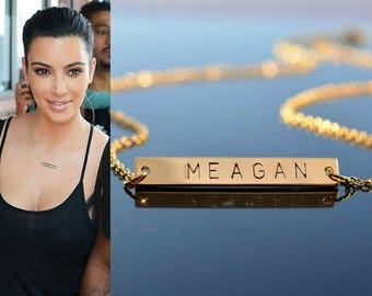 Name Necklace, Gold Name Plate Necklace, Initial Necklace, Letter Necklace, Personalized Name Jewelry, Dainty Name Charm, WEDDING GIFT,