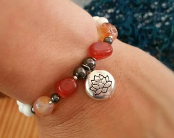 Peace Protection Clarification Action and Enlightenment Bracelet - Carnelian Howlite Hematite Seraphinite Silver plated Lotus flower charm