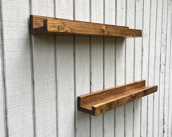 "4in wide wooden shelf, rustic floating wall shelf, length 12"", 24"", 36"", 48"", handmade wooden shelf, rustic decor, home decor."