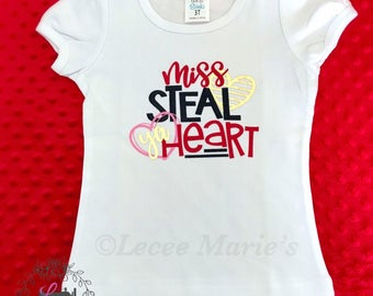"Valentines,""Miss Steal Ya Heart"" T-Shirt,Valentines day shirt,white,pink,gold"
