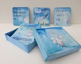 Dream catcher affirmation cards, Emotional well being, Mental health awareness, Positive affirmations, Spiritual giudance