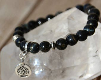 Bracelet with tree of life charm and Hawk Eye beads