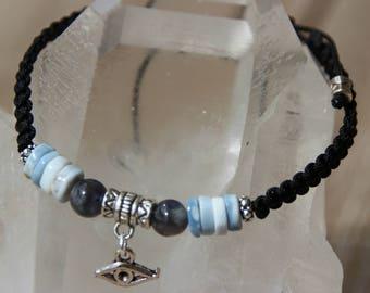 shamballa bracelet blue Opal beads