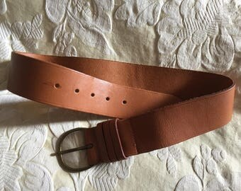 Vintage Tan Belt with Buckle - 34 inches (Not Including Buckle)  1980s