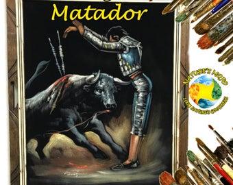 Bull Fighter Matador Oil Velvet Painting #BFM