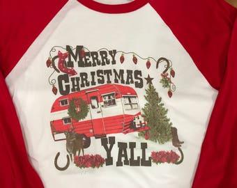 Merry Christmas yall shirt / womens Christmas shirt / vintage Christmas / Ladies Christmas raglan / Christmas camper / retro camper