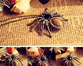 Spider pendant necklace Crystal rhinestone long necklace