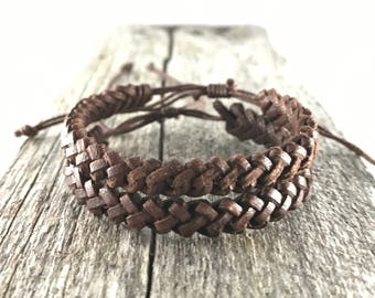 2 x Brown Cotton and Leather Bracelet / Anklet Wristband / Mens Womens Kids / Surf Beach Wear / His Her Gift Adjustable Friendship Bracelet