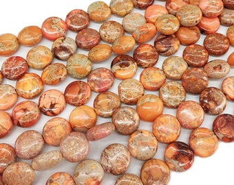 10mm Imperial beads Flat ,  Natural imperial Stone, Orange Semiprecious Beads ,Coin Sediment Beads ,Wholesale Beads 15 inch Full Strand V056