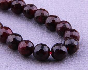 """12mm Garnet Beads , Faceted Garnet Beads Round , Natural Garnet Beads , Gemstone Beads , Genuine Garnet Beads , 15.5"""" Full Strand"""