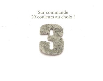 """Number """"3"""" in felt - 29 color choices - 2.4 cm x 2.5 cm"""