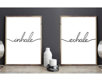 Inhale Exhale Prints Yoga Quote Deco Wall Art Typography Pilates Relaxing