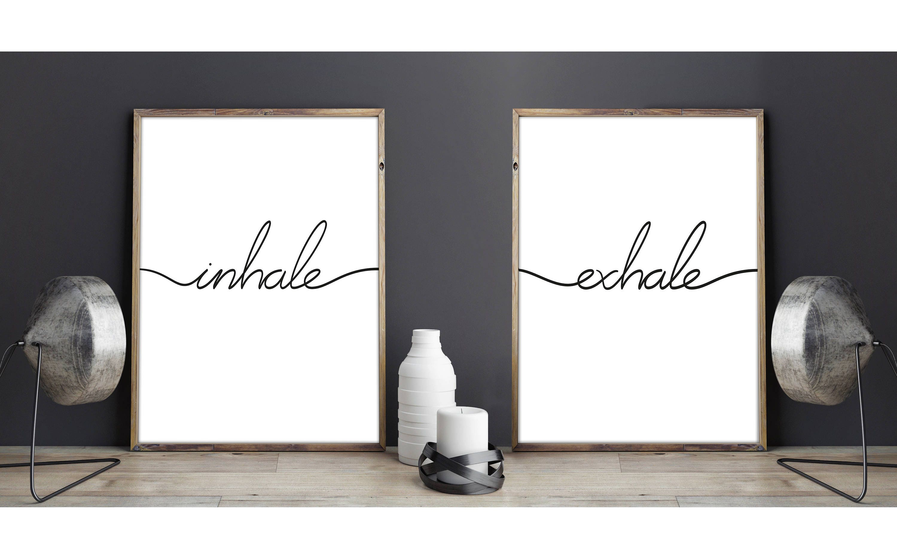 Inhale exhale prints yoga quote deco wall art typography - Cuadros posters laminas ...