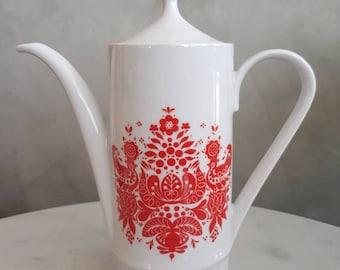 Vintage Mid Century Kahla Germany Coffepot. Folk design 1960s