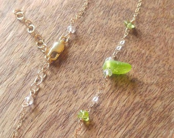 Beachglass and Peridot Gold Anklet