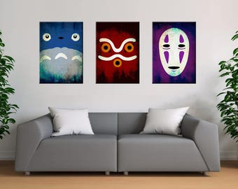 Studio Ghibli, Totoro, Mononoke, Spirited Away, Poster Set, Wall art