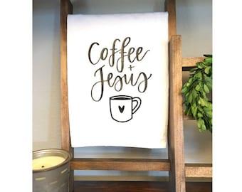Coffee + Jesus Tea Towel