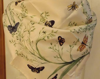Gorgeous Jim Thompson Large Butterfly Floral Scarf, Cream/Green/Yellow/Blue/Orange, Women's Accessory, Large Scarf, Shawl, Wrap, Mod, Summer