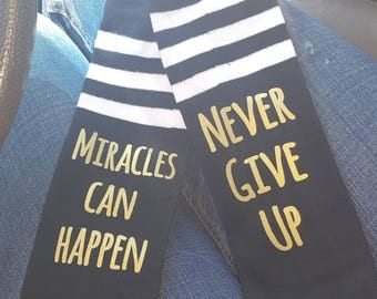 Miracles happen socks- never give up socks - knee high monogram socks- ivf socks- ivf knee high socks