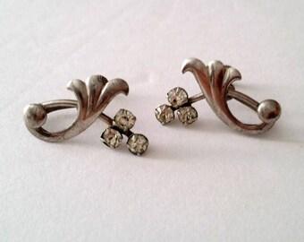 Mid Century 925 Silver Swirl Screw Earrings