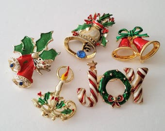 Vintage Christmas Holiday Brooches Lot